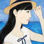 『久しぶりの海〜ロング〜』2020年 F0号 作家蔵