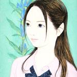 『リンドウ思う野菊』2016年F3号 作家蔵