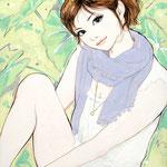 『つけまの子』 F0号 2012年 個人蔵