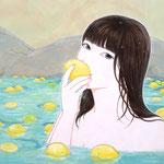 『ようこそレモンの湯へ〜いい香りだね〜』2021年 F6号 作家蔵
