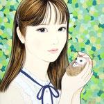 『ふれ愛 〜手〜』2020年 F0号 個人蔵
