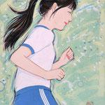 『走るのって楽しい!〜青〜』2020年 F0号 作家蔵