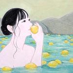 『ようこそレモンの湯へ〜いい香り〜』2021年 F6号 作家蔵