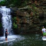 SUPで水落の滝