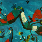 Kinder-Kunstwerk entstanden bei mir im Malkurs nach einem Motiv von Mirò
