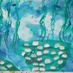 Kinder-Kunstwerk entstanden bei mir im Malkurs: Seerosenteich nach einem Motiv von Claude Monet