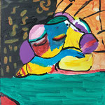 Kinder-Kunstwerk entstanden bei mir im Malkurs: Schlafende Frau nach einem Motiv von Pablo Picasso
