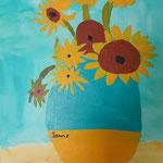 Kinder-Kunstwerk entstanden bei mir im Malkurs: Sonnenblumen nach einem Motiv von Vincent van Gogh