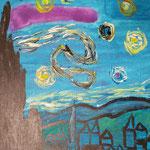Kinder-Kunstwerk entstanden bei mir im Malkurs nach einem Motiv von Vincent van Gogh