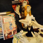 Art Dolls Needle Felted Alice in Wonderland, Mad Hatter and White Rabbit