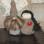 Art Doll Knitted with natural wool  Gnomes