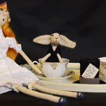 Art Dolls Needle Felted Alice in Wonderland and White Rabbit