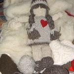 Art Doll Knitted with natural wool