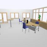 08 Arbeitsplätze mit Besprechungsansatz und Lochblech-Sichtblende