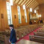 陽子様の祖父で名誉師範の長男、猛様が挙式をされたランバス記念礼拝堂を見学