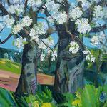 Blühende Kirschbäume 130x100 cm