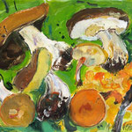 Pilze Mischtechn. auf Papier 50x70 cm