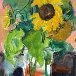 Sonnenblume in Vase  Mischtechn./ Papier 70x50 cm verk./ sold