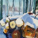 Holzstapel im Schnee 50x65 cm verkauft/sold