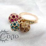 """кольцо """"Шарики"""" роз. золото - 780 руб."""