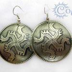 """Серьги """"Коловрат"""" - 950 руб. На серьгах изображен Коловрат - древний славянский символ - Ярило-Солнце, Свет, смену времен года, является очищающим и оберегающим символом. Мельхиор"""