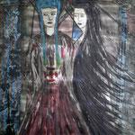 Säulenreich - Geliebte Pythia, Geliebte Lydia - 56 x 42 cm - 1993 - Mischtechnik - Malerei auf Papier