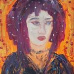 Melancholisches Mädchen - 40 x 30 cm - 2020 - Acryl - Malerei auf Leinwand