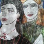 Oh - sind wir nicht Freundinnen, Schwestern oder Geliebte - 29,7 x 21 cm - 2017 - Mischtechnik - Malerei auf Papier
