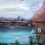 Haus der gefallenen Töchter - 40 x 40 cm - 2019 - Acryl - Malerei auf Leinwand