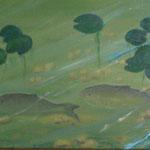 Fische (Öl auf Leinwand 90x30)