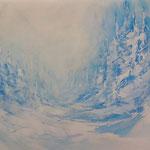 Winterlandschaft (Öl und Pastellkreide auf Steinpapier 42x29,5)