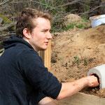 Schwieriger: Lehmverputz für die Röhre