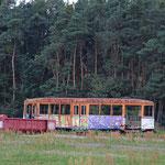 Ausrangierte Straßenbahnen vor dem Naturschutzgebiet