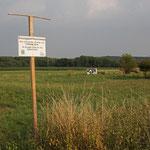 Kein guter Kratzbaum für Pferde - wieder aufgestelltes Schild