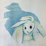 Handpuppe weißer Hase