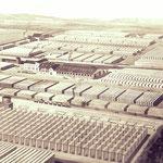 Bimsproduktionsstätten der Firma Hubaleck mit dem Verwaltungsgebäude rechts im Vordergrund.
