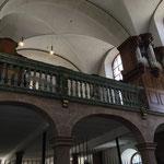 Die Empore mit der Stummorgel von 1757, die in ihren ursprünglichen Zustand zurückgebaut wurde.