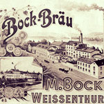Werbeschild der ehemaligen Bock-Brauerei. Heute ist dort ein Fitness-Studio.