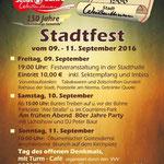 Plakat Stadtfest 2016.