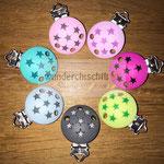 Silikonclips Sterne (+4.-), (rosa, flieder, pink, lemon, grau, babyblau, türkis)