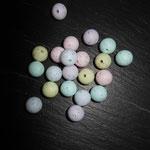 """Silikonperlen """"Shabby"""" (blau, lemon, türkis, rosa, flieder)"""