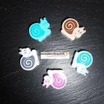 "Motivperle ""Schnecke"" (natur, blau, rosa, grau, türkis)"