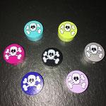 "Motivperle ""Skull"" (lemon, grau, flieder, dunkelblau, dunkelpink, türkis, schwarz)"