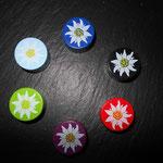 Motivperlen Edelweiss (schwarz, rot, violett, grün, hellblau, dunkelblau)