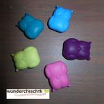 """Eulen1"" (skyblau, purpur, hellrosa, lemon, dunkeltürkis)"