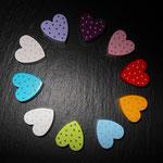 Motivperlen Herzli mit Punkten (purpur, rosa, rot, gelb, blau, grün, weiss/blau, türkis, weiss/rosa, flieder)