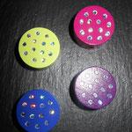 Motivperlen Glitzerpunkte (lemon, d-pink, purpur, d-blau)
