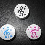"Motivperle ""music"" (schwarz, rosa, blau)"