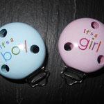 "Mptivclip ""It's a boy"" (blau), ""it's a girl"" (rosa)"