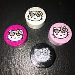 """Motivperle """"Hello Kitty mit Sonnenbrille"""" (weiss, rosa, schwarz dunkelpink)"""